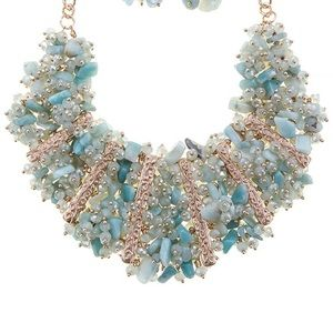 Amazonite stones bib gold tone necklace set new